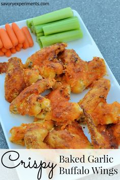 Crispy Baked Garlic Buffalo Wings Recipe- Baked with a mystery ingredient, come see what creates the extraordinary crispy crunch in garlic buffalo wings.