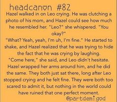 Mmmmm...I don't ship them but this is so cute! I feel like Hazel in this is always there for him :)