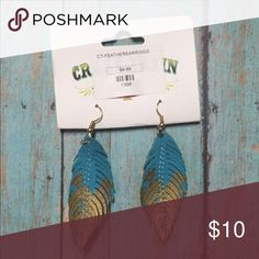 Leather Feather Earrings NWT Crazy Train Jewelry Earrings