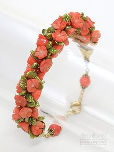 Coral and Pearl Kumihimo Bracelet, Braided Coral and Pearl Bracelet by dlpCraftsman on Etsy