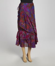 Look what I found on #zulily! Green & Purple Floral Wrap Skirt by The OM Company #zulilyfinds