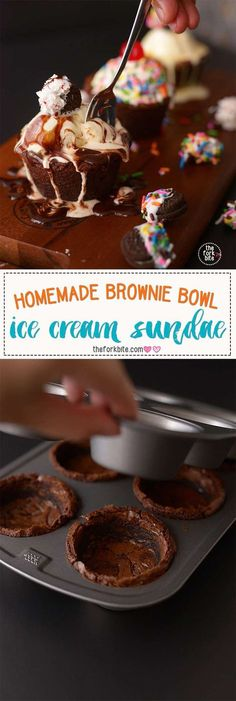 Brownie Bowl Ice Cream Sundae - The only thing better than your favorite ice cream is the same ice cream served in a delicious edible brownie bowl or cup.
