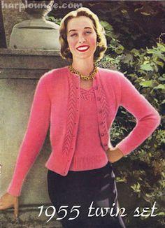 Knitting Patterns Vintage Knitting – Twin Set For Glamorous Evenings free pattern Vintage Knitting, Lace Knitting, Vintage Crochet, Knitting Patterns Free, Knit Patterns, Vintage Patterns, Free Pattern, Knit Crochet, Vintage Mom