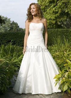 Custom Your Own Wedding Dresses A Line Satin Court Train Strapless Sweetheart Cascading Ruffle Sleeveless On Line Wedding Dresses