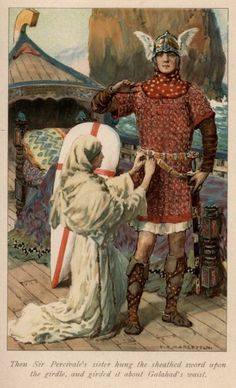 'Then Sir Percivale's sister hung the sheathed sword upon the girdle, and girded it about Galahad's waist. Margetson from: Legends of King Arthur and His Knights King Arthur Legend, Legend Of King, Fantasy World, Fantasy Art, The Lady Of Shalott, Green Knight, Sword In The Stone, Medieval Art, Medieval Drawings