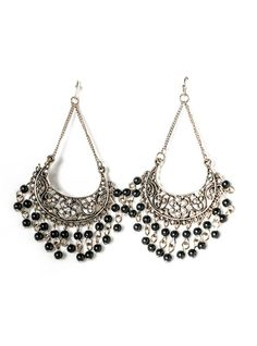 $16  NEW MOON WITH TURQUOISE DROPS - BLACK