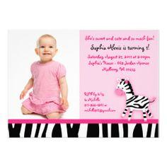 Sweet Pink Zebra Girl Photo Birthday Invitations