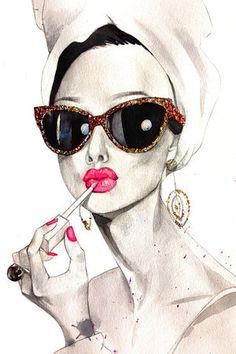 fashion illustration of Audrey Hepburn