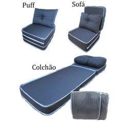 Colchão 3x1 Puff Ou Sofá Ou Colchonete Com Travesseiro - R$ 119,00