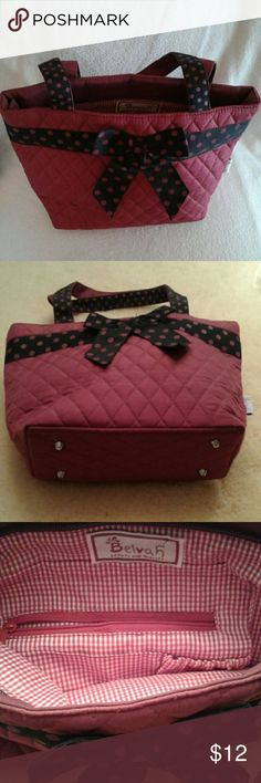 """Belvah burgundy quilted bag This is a NWOT quilted Belvah bag. It is burgundy with red and black polka dot grosgrain ribbon bow and handle accent. The inside is red gingham with a zippered and a small gathered pocket. It has a top full zipper closure. The bag measures  13""""x9""""x4"""" and opens to 10"""". The handle drop is 9"""" and the bag has 4 metal feet. Belvah Bags Satchels"""
