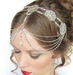 Wedding Couture Circlet Headdress by BeasleysWonders on Etsy Wedding Accessories, Wedding Jewelry, Jewelry Accessories, Jewelry Design, Head Jewelry, Body Jewelry, Hair Jewellery, Pagan Wedding, Gypsy Wedding
