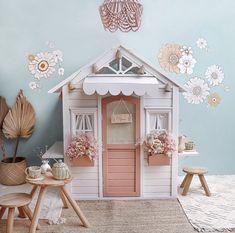 Kids Cubby Houses, Kids Cubbies, Play Houses, Little Girls Playroom, Little Girls Playhouse, Diy Playhouse, Kids Bedroom Designs, Flower Wall Decals, Kids Play Area