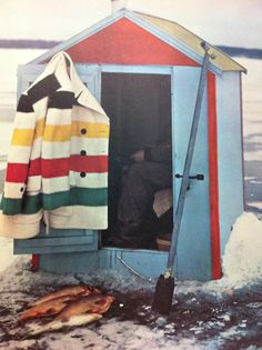 Hudson Bay Blanket coat is a must have when ice fishing. Image from The Canadian Look: A Century of Sights and Styles, Ice Fishing Huts, Fishing Shack, Hudson Bay Blanket, Canadian Things, Berlin, Ice Houses, Blanket Coat, O Canada, Cabin Fever