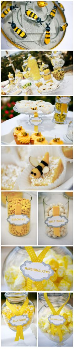boy baby shower - bumble bee theme (I like it for a spring or summer theme brunch!)
