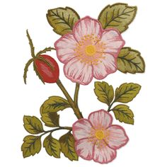 Image for Pink flower and leaves from MyEmbroideries