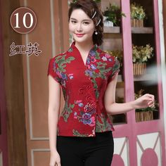 Elegant Frog Button Open Neck Chinese Shirt - Dark Red - Chinese Shirts & Blouses - Women