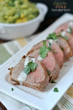 Chipotle Pork Tenderloin with Cilantro Lime Sauce...dinner is ready in 30 minutes!
