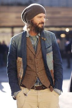 Shop this look on Lookastic: http://lookastic.com/men/looks/beanie-and-crew-neck-t-shirt-and-denim-jacket-and-waistcoat-and-blazer-and-belt-and-chinos/4065 — Dark Brown Beanie — Olive Crew-neck T-shirt — Grey Denim Jacket — Brown Plaid Waistcoat — Navy Denim Blazer — Dark Brown Leather Belt — Beige Chinos