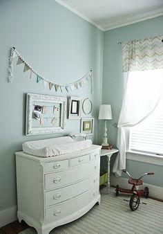 DIY banner in this light soft blue baby boy nursery