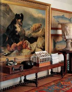 Oversized dog painting, antique bench with barley twist legs, rug, fish artwork - Robert Kime