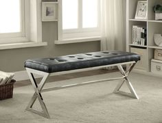 Furniture of America Zina Black Bench CM-BN6913BK