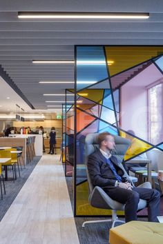 Autex Interior Acoustics - Frontier™ Design: Tundra - Colour: Flatiron - BDO Offices, London, UK - Direct Fix to Ceiling in cladding with integrated lighting Workspace Design, Office Interior Design, Office Interiors, Office Dividers, Space Dividers, Partition Design, Glass Partition, Commercial Design, Commercial Interiors