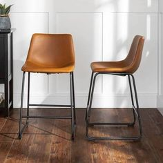 Walker Edison - Industrial Faux Leather Counter Stool (Set of - Whiskey Brown Counter Stools With Backs, Modern Counter Stools, Leather Counter Stools, Counter Height Bar Stools, Kitchen Counter Stools, Industrial Bar Stools, Kitchen Redo, Kitchen Ideas, Brown Bar Stools