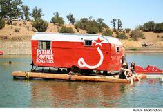 Ritual Coffee Roasters caravan on a pontoon! Talk about mobile coffee! Wow!