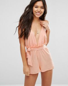 Frill back belted beach romper by Asos. Beach cover-up by ASOS Collection, Crinkled woven cotton, Plunge neckline, Stretch waistband, Removable belt tie, Fri...