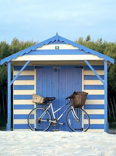 Cabana shed in french blue and white stripes - heaven! Playa Beach, Beach Cabana, Miami Beach, Foto Transfer, Beach Shack, Beach Cottages, Coastal Living, Beach House, Summertime
