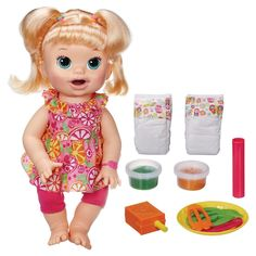 Buy Baby Alive: Super Snacks - Snackin Sara at Mighty Ape NZ. Little girls can have the love and fun of real babies with this Snackin' Sara doll! She's a little doll who needs your daughter to make tasty snacks . Muñeca Baby Alive, Baby Alive Dolls, Baby Dolls, Toys R Us, Kids Toys, Little Doll, Little Girls, Blonde Babys, Blonde Hair
