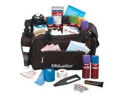 Mueller Sport Care Soft Kit Complete, 10-Pound by Mueller. $191.99. Glove Canister, 3 pair Exam Gloves, 1-roll M-Wrap, 1-roll M-Tape, 1-Tape Tote, 1-4oz Cooland Cold Spray, 1-Wonder Wrap, 1-4oz Tape & Tuffner Remover, 1-Gauze Roll, 1-2.75oz Muellergesic, 1-MuellerKOLD instant cold Pack. 10 1/32 oz packets Water-Jell Antiobiotic, 1 roll elastic Bandage. Athletic trainers soft kit constructed of tough water-resistant poly fabric.  Zippered o pockets, mesh enclosur...