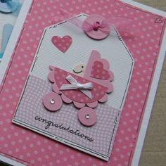 Baby Girl in a Pram Congratulations Card by Crafty Mushroom