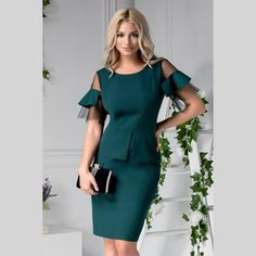 Office Dresses, Casual Look, Peplum Dress, Cold Shoulder Dress, Clothes, Fashion, Outfits, Moda, Clothing
