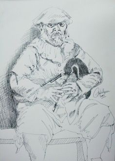 17th century reenactor playing the Norfolk pipes. Ink sketch by Carl Nielsen, Living History Portraits.