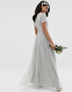 Shop Maya Bridesmaid v neck maxi tulle dress with tonal delicate sequins in soft gray at ASOS. Embellished Bridesmaid Dress, Sequin Bridesmaid Dresses, Embellished Top, Prom Dresses, Formal Dresses, Wedding Dresses, Tulle Dress, Sequin Dress, I Dress