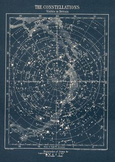 antique Constellation star map circa 1900s vintage map of stars visible in…