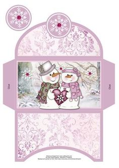Snow in Love Christmas Money Wallet on Craftsuprint designed by Janet Roberts - This item goes with my 'Snow in Love' mini kit ..... please see the link below - Now available for download!