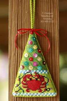Needlepoint ornament-finishing by TJ Designs      Contact Tamara 903-493-0111 or message me on facebook