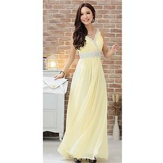 Women's V Neck Rhinestone Slim Chiffon Elegant Maxi Dress – USD $ 31.19