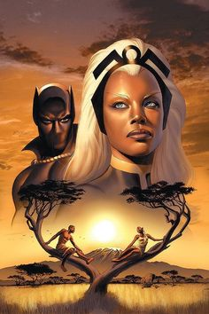 Drawing Marvel Comics Poster: Storm Cover: Storm and Black Panther by David Yardin : - Black Panther Marvel, Black Panther Storm, Black Panther Art, Black Art, Marvel Comic Character, Marvel Characters, Marvel Heroes, Black Marvel Superheroes, Marvel Dc