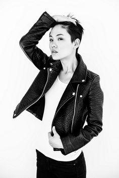 leather jacket + plain t