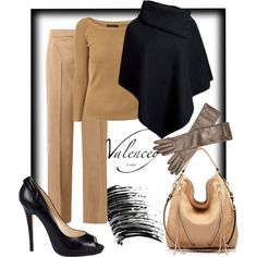 Warm up your winter  #classic outfit pairing #highheels and #poncho in #beige and #nude colors