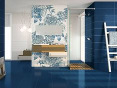 #Blue #bathrooms are classic but with so many design and decoration options, as you can see in this space made with our #DreamWall #ToileBlue.