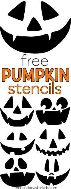 Free Pumpkin Carving Stencils - The Best Ideas for Kids Free Stencils - these are the perfect Jack-O-Lantern faces for carving pumpkins with kids. Pumpkin Face Templates, Printable Pumpkin Stencils, Halloween Pumpkin Carving Stencils, Scary Halloween Pumpkins, Easy Pumpkin Carving, Pumpkin Carving Patterns, Scary Pumpkin, Halloween Crafts For Kids, Halloween Activities