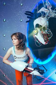 Chell and GLaDOS  Portal2  Cosplay Print от AGflowerCosplay