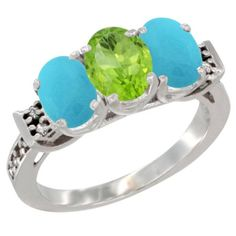 10K White Gold Natural Peridot and Turquoise Sides Ring 3-Stone Oval 7x5 mm Diamond Accent, sizes 5 - 10 >>> Don't get left behind, see this great  product : Jewelry Ring Bands