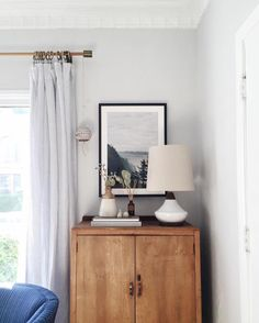 A cool gray color scheme is the perfect backdrop for this soothing interior via Em Henderson and Ginny MacDonald. Photo by Posy Quarterman. Home Interior, Interior Styling, Interior Decorating, Style At Home, Home Bedroom, Bedroom Decor, Bedroom Storage, Living Spaces, Living Room
