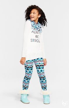 At the top of her list: our $16 print perfect leggings with a made-to-match scarf and graphic tee!