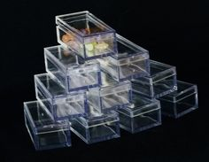 RECTANGLE CLEAR ACRYLIC GEM BOXES 50 QTY